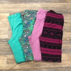 LuLaRoe Leggings Lot One Size 4 Pairs Solid Print